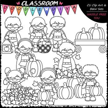 Fall Superhero Kids - Clip Art & B&W Set