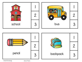 Fall Syllable Literacy Center for Pre K and Kindergarten