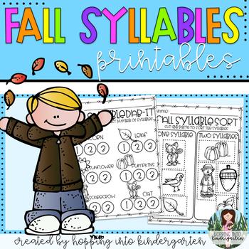 Fall Syllable Printables
