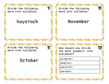 Fall Syllable Task Cards