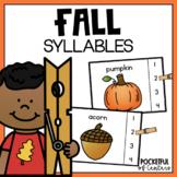 Fall Syllables Clip Cards