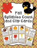 Fall Syllables Count and  Clip Cards