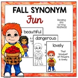 Fall Synonym Fun  Card Game - Go Fish or Concentration for