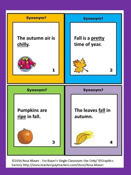 Fall Synonyms Task Cards