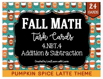 Fall Math Task Cards: Addition & Subtraction