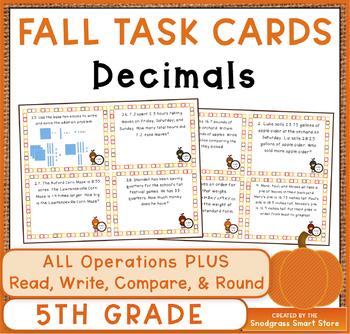 Decimals Task Cards: Fall Theme