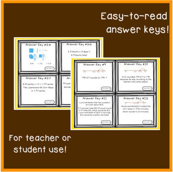 Decimals Task Cards: Fall Theme