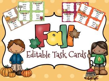 Fall Task Cards {Editable}