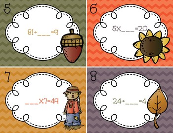 Fall Task Cards/ Scoot: Unknown Number in Multiplication/ Division 3.OA.4