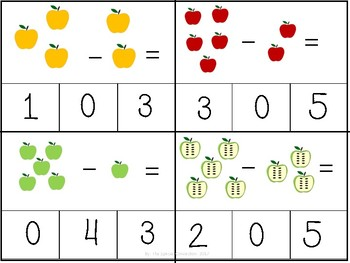 Fall Task Cards: Subtraction 0-5