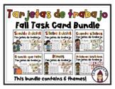 Fall Task Cards in Spanish- Tarjetas de trabajo- Bundle