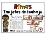Fall Task Cards in Spanish- Tarjetas de trabajo- El otoño-Rimas