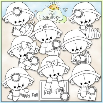 Fall Teddy Bears Clip Art - Fall Clip Art - Autumn Clip Art - CU Clip Art & B&W