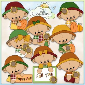 Fall Teddy Bears Clip Art - Fall Clip Art - Autumn Clip Ar