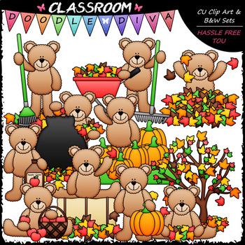 Fall Teddy Bears - Clip Art & B&W Set