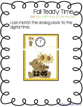 Fall Teddy Time - Telling Time to 5 Minutes