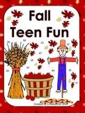 Teen Numbers Fall Fun Print and Go