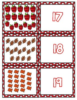 Fall Teen Number Matching Cards