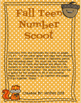 Fall Teen Number Scoot
