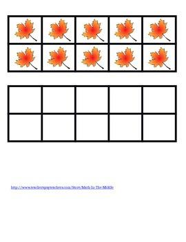 Ten Frame Flash Cards Fall Leaves
