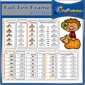 Fall Ten Frame Math Worksheets by Knowledge Box Central | TpT