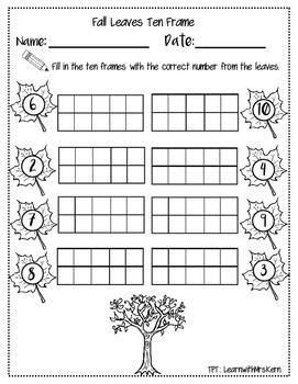 Fall Ten Frame Practice