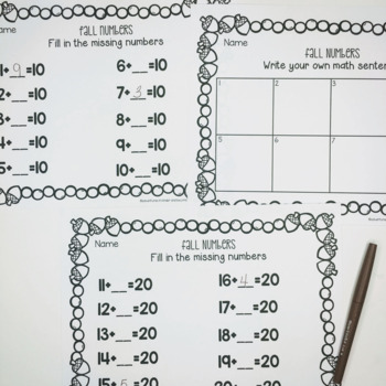 Fall Ten Frames- Addition and Subtraction Practice 1-20 | TpT