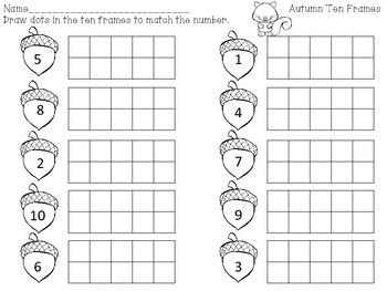 Fall Ten Frames Math Center