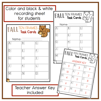 Fall Ten Frames Task Cards