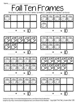 Fall Ten Frames in color and b&w with 1 worksheet