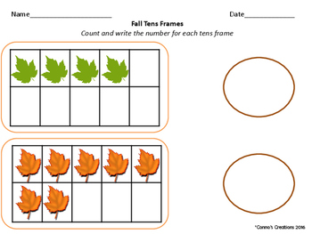 Fall Tens Frame- Counting 1-10