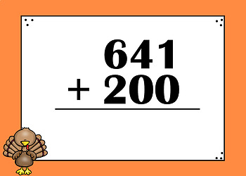 3 Digit Addition Boom Cards (Digital Task Cards) Thanksgiving Themed