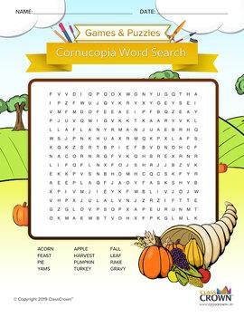 Fall / Thanksgiving Cornucopia Word Search – Thanksgiving Activities – B&W Ready