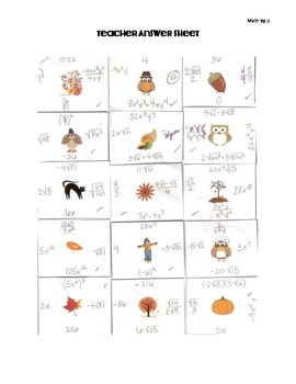 Fall & Thanksgiving Exponents Monomials Radicals