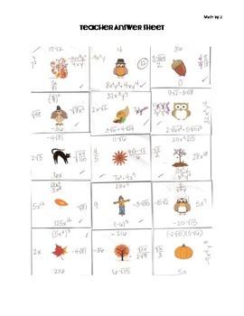 Fall & Thanksgiving Exponents Monomials Radicals