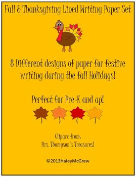 Writing Lined Paper Thanksgiving Fall Set of 8