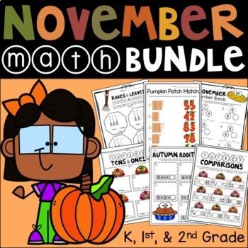Thanksgiving Math Bundle (Kindergarten, 1st, & 2nd Grade)