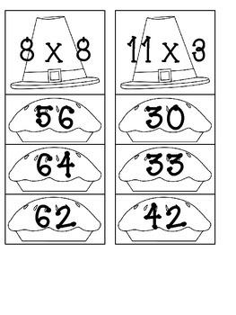 Fall- Thanksgiving Multiplication Clip Center