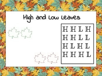 Fall/Thanksgiving Music Lesson: High and Low
