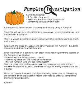 Fall / Thanksgiving Pumpkin Cross-curricular Activity - Math, Science, LA