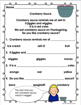Fall Thanksgiving Reading Comprehension Passages and Questions K - 1