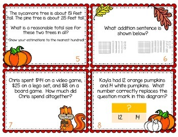 Fall & Thanksgiving Themed Addition and Subtraction enVisions Review Task Cards