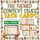 Fall & Thanksgiving Themed Context Clues Task Cards (Grade 3-6)