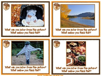 Fall & Thanksgiving Themed Inference Task Cards { Pictures and Text }