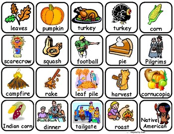 Fall and Thanksgiving Words Flashcards and File Folder for Autism