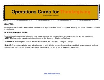 Fall Thanksgiving turkey operations cards prek primary math addition subtraction
