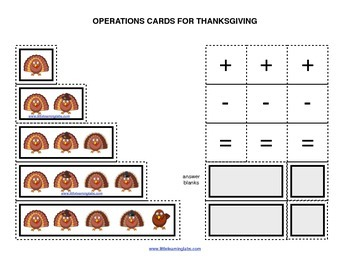 Fall Thanksgiving turkey operations cards prek primary mat