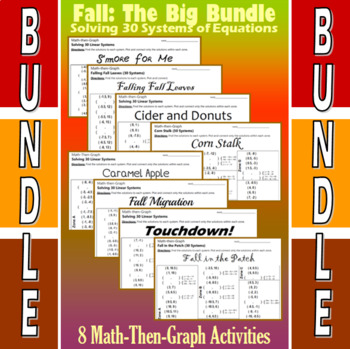 Fall - The Big Bundle - 8 Math-Then-Graph Activities - Solve 30 Systems
