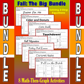 Fall - The Big Bundle - 8 Math-Then-Graph Activities - Solve 2-Step Eqs