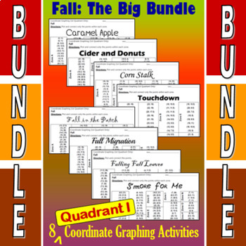 Fall - The Big Bundle of 8 Quadrant I Coordinate Graphing Activities